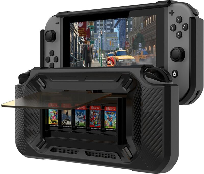 Ortz Nintendo Switch Grip Case Play Stand 5 Games Protective Bumper Slim Cover