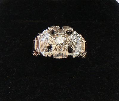 Masonic 32nd Degree Scottish Rite Diamond Ring 10k Gold Palladium Dbl Eagle