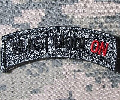 BEAST MODE ON TAB USA ARMY ACU DARK VELCRO® BRAND FASTENER MORALE BADGE PATCH
