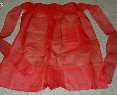 Vintage Aprons, Retro Aprons, Old Fashioned Aprons & Patterns VINTAGE BEAUTIFUL RED SHEER HALF APRON LARGE POCKET  $12.00 AT vintagedancer.com