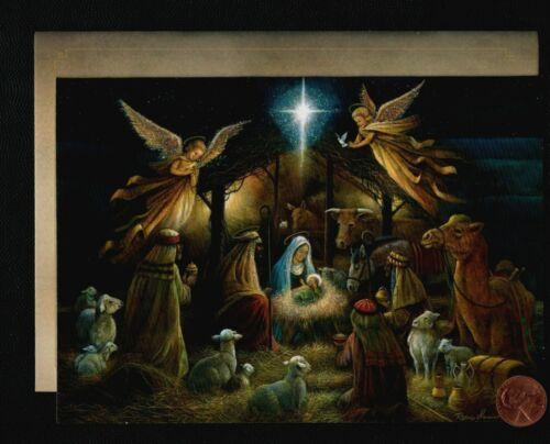 CHRISTMAS Nativity Angel Baby Jesus Lambs Donkey Star - RELIGIOUS Greeting Card
