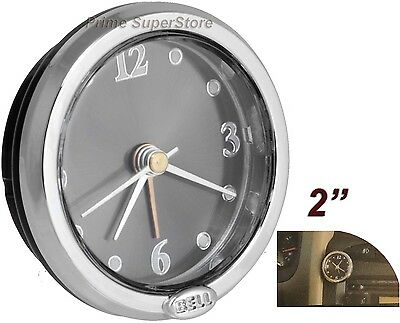 1 Black/Silver Analog Alarm Clock Round Display Car/RV/Truck Interior Dash Mount