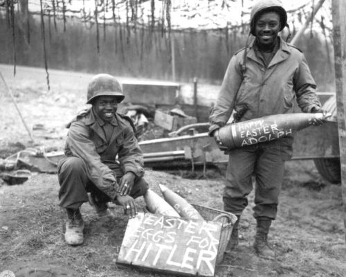1945 Photo-Soldiers Write Message on Artillery Shells-Easter Eggs for Hitler