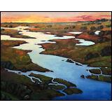 W HAWKINS  Plein Air  Impressionist Original Sunset Art Landscape Oil Painting