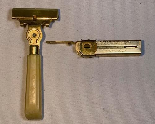 Vintage Schick Eversharp Safety Razor w/Injector - Yellow Handle