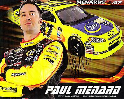 PAUL MENARD Signed Autographed 8X10 Nascar Racing Photo COA