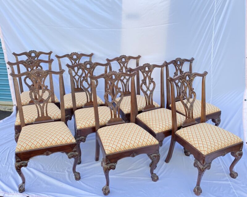 SET OF (10) HENREDON MAHOGANY BALL & CLAW FOOT CHIPPENDALE DINING ROOM CHAIRS