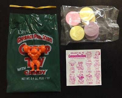 1986 Garbage Pail Kids Orange Brett Sweat Cheap Toy, w/ Bag-Candy-CL! TWT