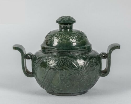 Fine Old Chinese Green Spinach Jade Censer with Dragon, mark on the bottom