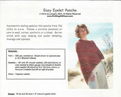 Easy Eyelet Poncho Knitting At Noon Instruction Pattern Woman's Regular and Plus
