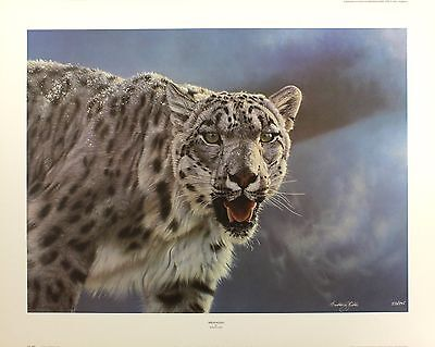 "ANTHONY GIBBS ""Breathless"" snow leopard cat SGD LTD ED! SIZE:61cm x 78cm NEW"