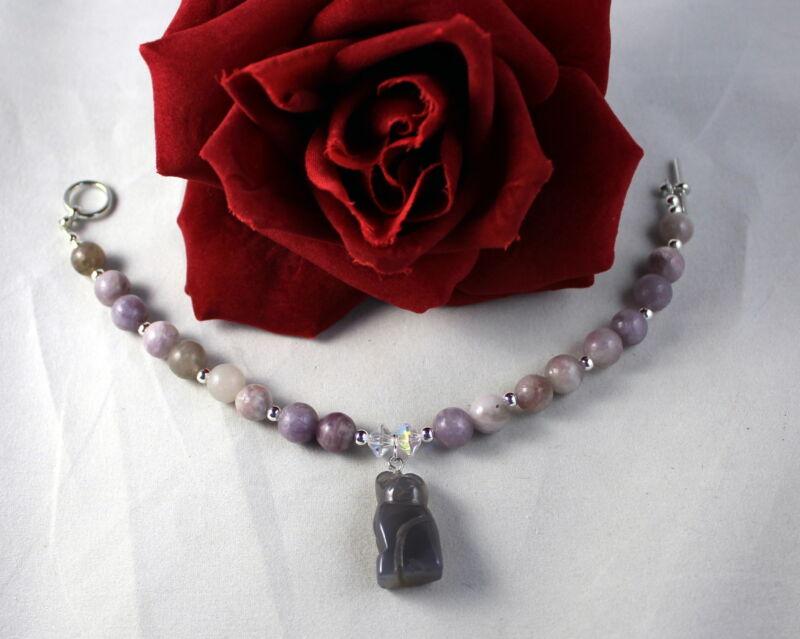 Artisan  Lilac Stone Beaded    Kitty Cat Charm  Bracelet  CAT RESCUE