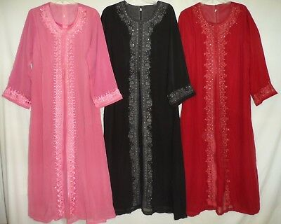 Embroidered Beaded Sheers Wedding Eid Formal Abaya Long Dress Plus Size L XL Pet