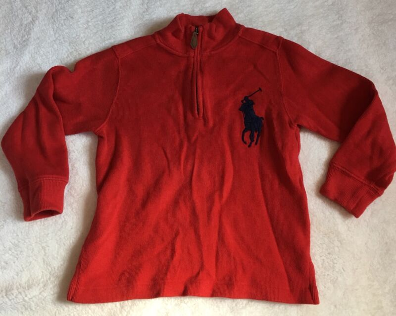 Polo Toddler Boys size 4 Red Half Zip Pullover Sweater w/ large navy logo