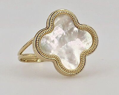 Solid 14k Yellow Gold & Mother of Pearl 4 Leaf Clover 2-Sided Ring Sz. 8, New (14k Yellow Gold Clover)