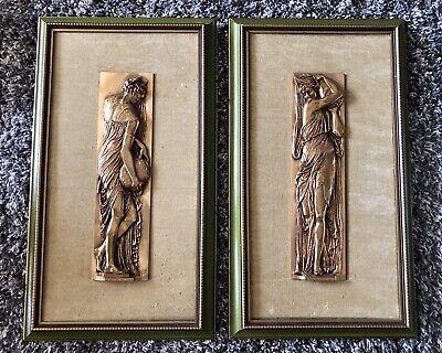 Pair of F. Barbedienne Bronze Relief Framed Plaques Greek Nymphs Jean Goujon
