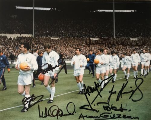Tottenham 1967 FA Cup Winners multi signed photo signed by 8 players AFTAL