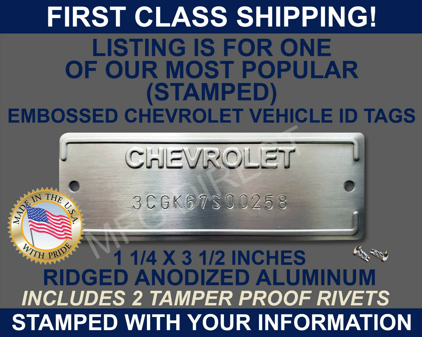 CHEVROLET SERIAL NUMBER ID TAG DATA VIN PLATE CHEVY