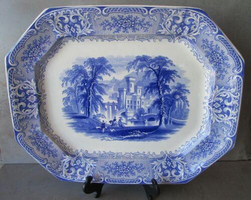 """ANTIQUE ENGLISH STAFFORDSHIRE BLUE & WHITE CASTLE VIGNETTE PLATTER, 17.75 X 14"""""""