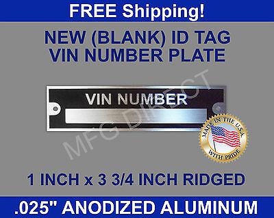 New Blank Vin Serial Number Plate Identification Vehicle ID TAG FREE SHIPPING