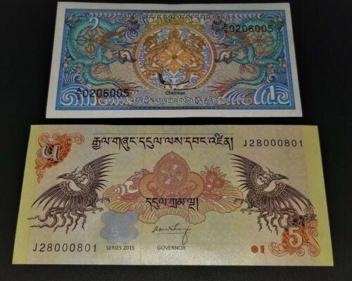 UNC BHUTAN BEAUTFIFULL BANKNOTES: 1 Ngultrum 1985 P-12, & 5 Ngultrum 2006 P-28