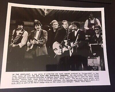 VINTAGE BOB DYLAN JOHNNY CASH RON WOOD PRESS PHOTO 30TH ANNIVERSARY KEVIN MAZUR
