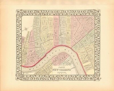 1874 ANTIQUE MAP - USA - PLAN OF NEW ORLEANS