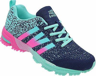 Damen Laufschuhe Sportschuhe Turnschuhe Sneaker Neon Nr. 258  navy-blau-fuchsia Fuchsia Damen Schuhe