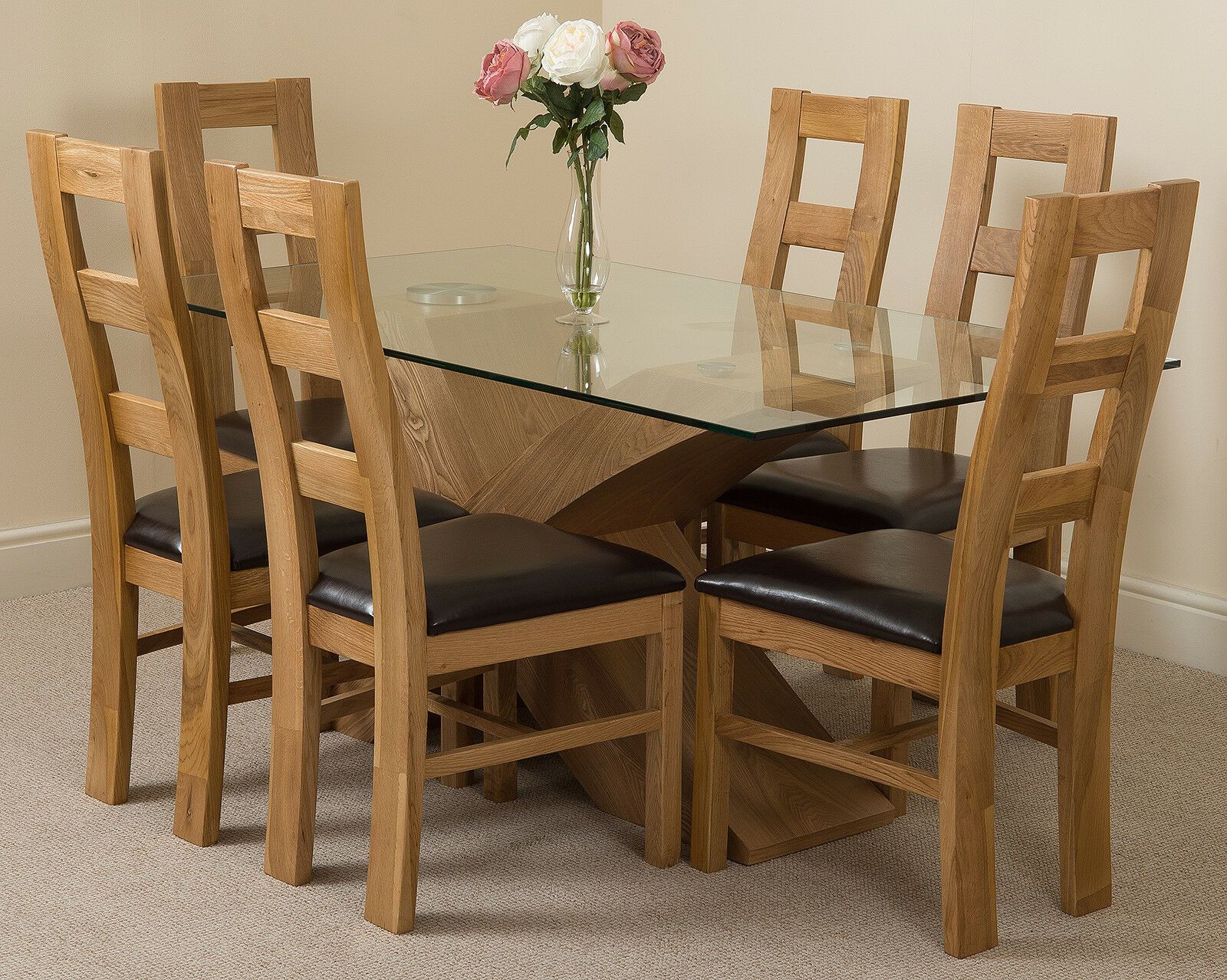 Valencia Oak Small Glass Dining Table With 4 Or 6 Yale Oak Chairs Ebay