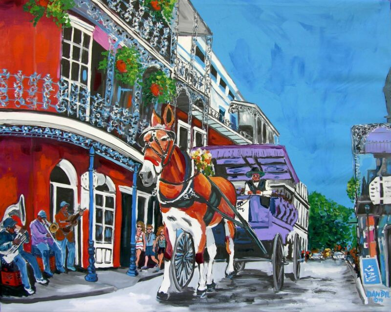New Orleans Horse Mardi Gras Original Art Painting DAN BYL Contemporary 4x5ft