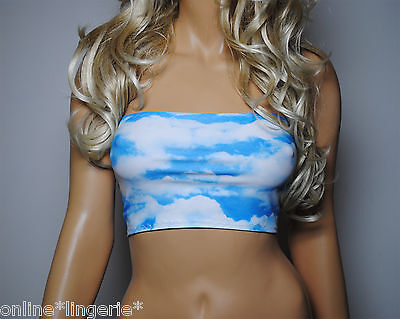 Boob Tube Top Blue White Sky CLOUDS Strapless Club Crop Lycra Beach Holiday W414 Tube Top Lycra