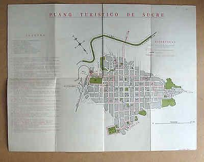 SUCRE BOLIVIA 1950s? MAP Plano Turistico de la Capital colour very good cond