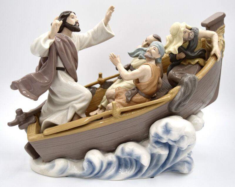 Jesus with Disciples in Boat Calming Storm Classic Treasures Porcelain Figurine