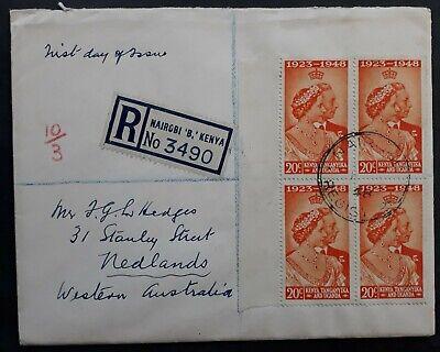 SCARCE 1948 Kenya Uganda Tanganyika Registd Silver Wedding FDC block of 4 stamps