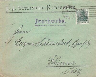 KARLSRUHE, Briefumschlag 1919, L. J. Ettlinger