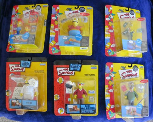Lot Of 6 Simpson Interactive Figures new in box, Ned, Burns, Barney,Luigi, Kirk!