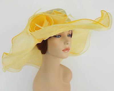 New Church Derby Wedding Sinamay 2 Layers Dress Hat 1765 Yellow & Light Yellow