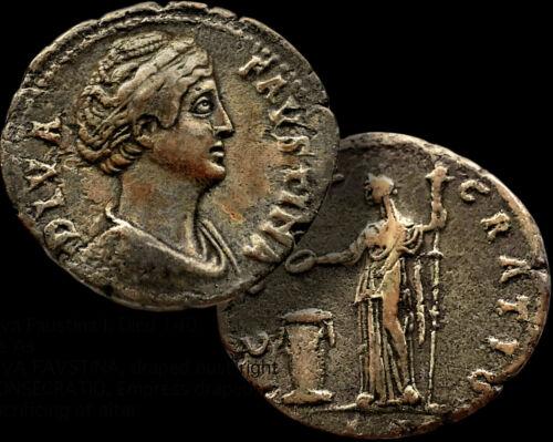 Diva FAUSTINA I, Empress 100 -140 AD. Wife of Antoninus Pius /AE Dupondius +COA
