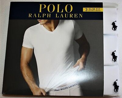 Polo Ralph Lauren Three 3 Pack Cotton SLIM FIT V-Neck T Tee Shirt WHITE NEW 3 Pack Cotton V-neck Tee