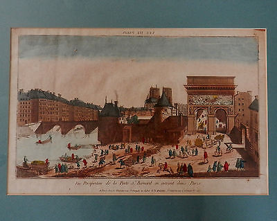 18th Century Paris Litho - Hand Colored - Jacques Chereau Framed Antique French