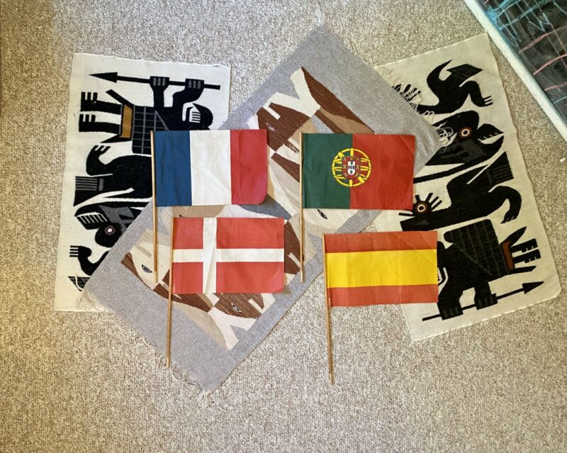 Four Vintage Large Paper Flags Denmark Spain Portugal France 12 x 17 Inches