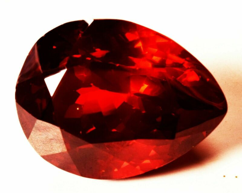 92.70 Cts Natural Cubic Zircon Red Color Pear Shape Certified Loose Gemstone