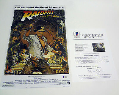 Harrison Ford Signed Indiana Jones Raiders Of The Lost Ark Movie Poster Bas Coa