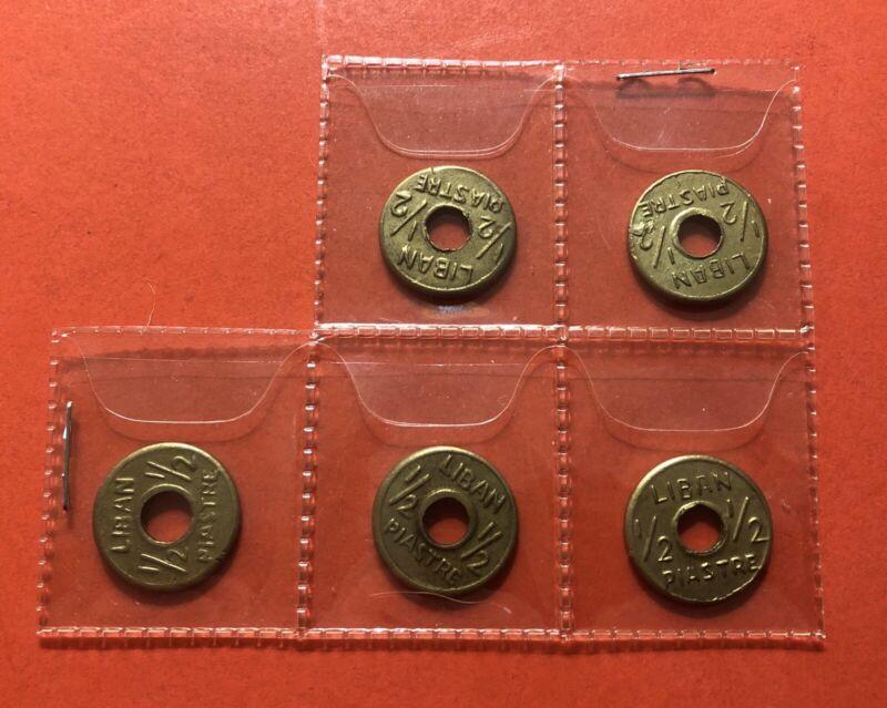 LEBANON- 1941-LOT OF 5 VINTAGE 1/2 PIASTRE COINS ..VF-XF CONDITION..RARE