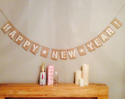 Happy New Year Bunting Banner News Years Eve Hessian Burlap  ()