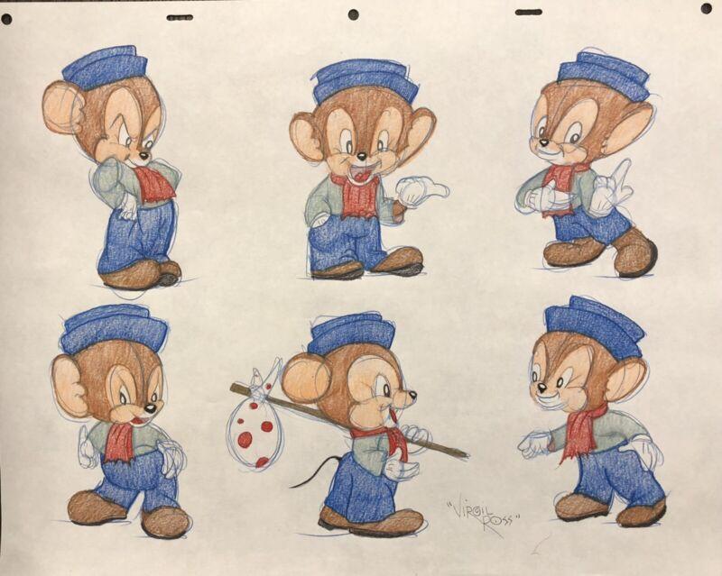 Original Warner Brothers Virgil Ross signed Sniffles Drawing model sheet cel
