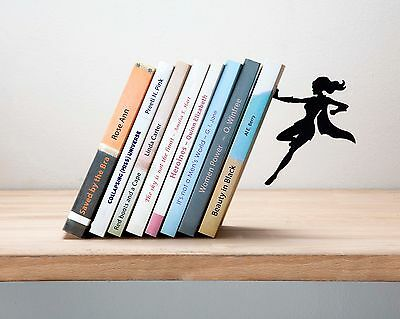 ARTORI Design Supergal Bookend Women Superhero Book End Holder Stopper Metal