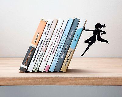 Supergal Bookend Feminine Superhero Book Stopper Holder Metal Black