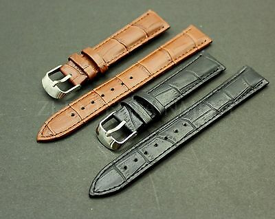 12 14 16 18 20 22Mm Black Brown Leather Strap Band Watch Buckle Clasp Men
