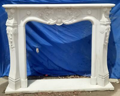 BEAUTIFUL HAND CARVED MARBLE FRENCH STYLE  ESTATE FIREPLACE MANTEL - TTM13
